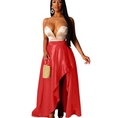 Red High Wasit Draped Split Side Dress DN8350