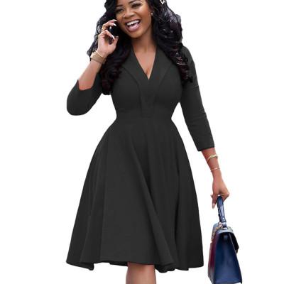 Black Sexy V Neck Ruffled Skirt Long Sleeve YX9175