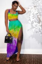 Yellow Tied-dye Crop Tanktop & Side Split Skirt Sets LYY9243