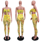 Yellow Graffiti Push Up Strapless Bodycon Jumpsuits SN3629
