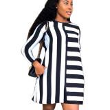 White Women 2 Colors Leisure Long Sleeved Stripe Dress ORY5136