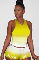 Gradient Yellow Tanks Drawsting Top & Shirred Shorts Sets GL6262