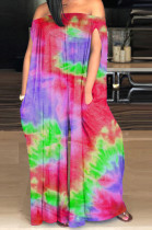 Red Casual Polyester Tie Dye Off Shoulder Tube Jumpsuit SM9098