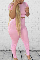 Pink Casual Short Sleeve Round Neck Ruffle Tee Top Long Pants Sets D8373