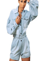 Denim latern sleeve patch pocket loose jumpsuit with tied SMR9573