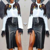 Newest Black PU Leather Bandage Midi Skirts MR161
