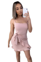Pink Side Knotted Wave Pleated Hem Slip Dress XZ3528