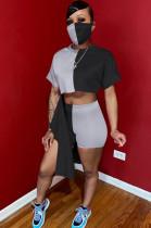 Grey Black Casual Short Sleeve Round Neck Spliced Tee Top Skinny Pants YYZ845