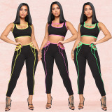 Yellow Hot Color Patchwork Track Suits Tank Top Skinny Pants XZ3280