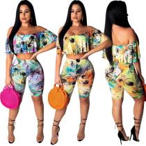 Off Shoulder Bandeau Top Flower Print Midi Shorts Sets K8745