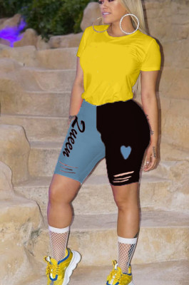 Black Blue Casual Polyester Letter Low Waist Shorts AMM8259