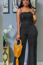 Black Casual Polyester Polka Dot Sleeveless Spaghetti Strap Open Back Cami Jumpsuit AA5076
