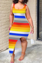 Colorful Casual Polyester Striped Sleeveless Backless Split Hem Tank Dress YY5186