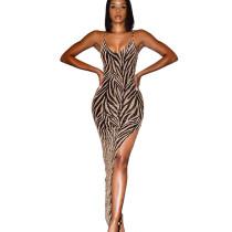 Gold High Split Irregular Clubwear Sexy Condole Belt Shiny Dress ZS0251