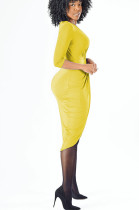 Yellow Front Twist Plunging Neck Bodycon Dress DMM8025