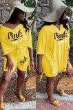 Yellow Solid Color V Neck Loose Shirt Top & Shorts Sets