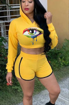 Yellow Casual Polyester Long Sleeve Hoodie Shorts Sets YYF8028