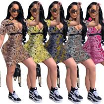 Sexy Snake Print V Neck Bodycon Mini Dress A8333