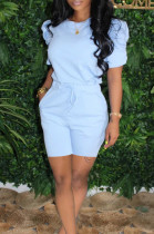 Blue Casual Short Sleeve Round Neck Ruffle Tee Top Shorts Sets SM9096