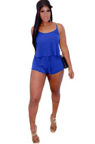 Blue Spaghetti Strap Crop Top & Self-tied Shorts Sets GL6261