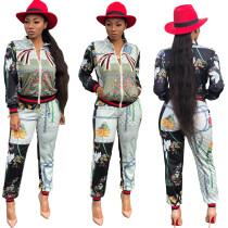 Fashion Flower Print Jackets Outfits SMR9095