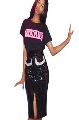Black PU Fake Pocket Front Split Skirt GL6230
