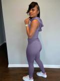 Purple Off Shoulder Waist Wrap Hoddie Top & Bodycon Pants Set HR8101
