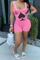 Casual Polyester Playing card pattern Sleeveless Bodycon Jumpsuit H1388