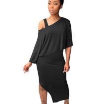 Black Asymmetrical Fold Collarless Skirt & Bodycon Midi KF142