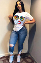 White Casual Cartoon Graphic Short Sleeve Round Neck Tee Top BBN062