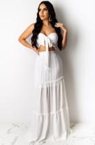 White Sexy Sleeveless Tie Front Ruffle Bandeau Bra Long Skirt KZ133