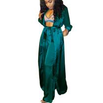 Blue Silk Loose Self-Belted Coat & Pants Set MY9289