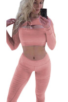 Pink front cut out midriff and bodycon pants sport set CM179