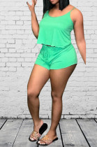 Green Casual Sleeveless Strappy Tank Top Shorts Sets D8371