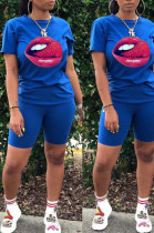 Blue Casual Polyester Mouth Graphic Short Sleeve Round Neck Tee Top Shorts Sets FA7098
