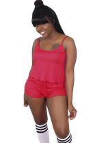 Red Slip Top & Short Pants Set SDD9227