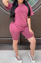 Wine Red Casual Polyester Short Sleeve Round Neck Tee Top Shorts Sets LD8729