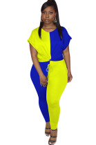 Two Tones Blue&Yellow Front Twist Roll-up Sleeve Pants Set OEP6160