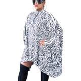 White Leopard Print Zip Front Bat Blouse LY5810