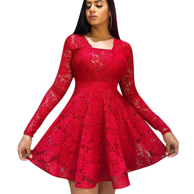 Red Frill Trim Square Neck Long Sleeve Ladies Dress W8250