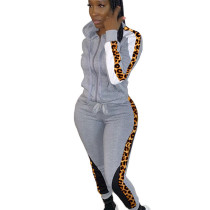 Gray Wholesale Leopard Printed Patchwork Hooded Jogging Set ARM8149