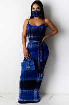 Blue Sexy Tie Dye Sleeveless Round Neck Waist Tie Tank Dress YF8517