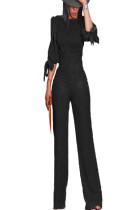 Black Bowknot Cuff with High Waist Pants Set OMY8016