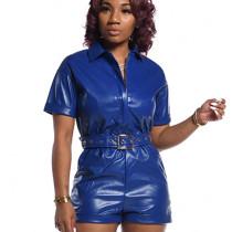 Navy Blue Faux Leather Short Jumpsuit with Belt BS1157