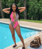 Pink Halter Neck Backless Leopard Print One Piece Swimsuits ARM8108