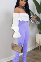 Purple Casual Polyester Rib-Knit High Waist Long Pants SN3835