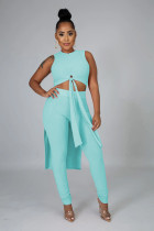 Cyan Rib-knit Front Knotted Crop Tank Top & High Waist Skinny Pants Sets FH083