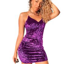 Purple Nylon Slip Mini Dress SN3741