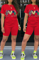 Red Casual Polyester Letter Short Sleeve Round Neck Tee Top Shorts Sets HHM6322