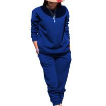 Blue Sport Plain Color Comfy Sets Simple T Shirt Skinny Pants TRS991